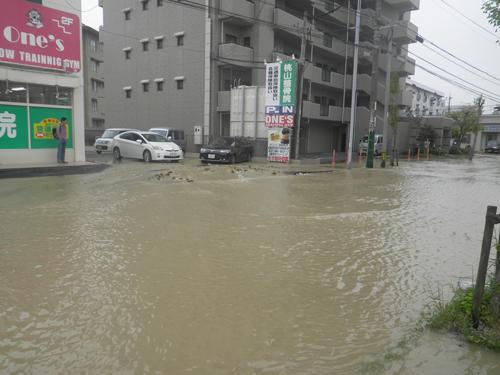鵜ノ島町水道管破裂応急活動